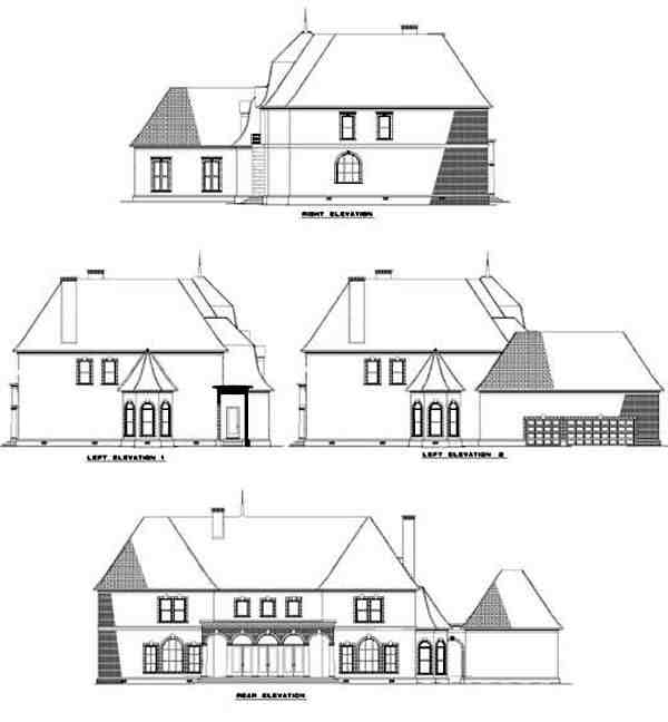 Colonial, Contemporary, Southern House Plan 61050 with 4 Beds, 6 Baths, 3 Car Garage Rear Elevation