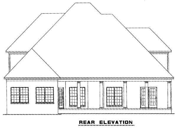 Craftsman House Plan 61329 with 4 Beds, 4 Baths, 2 Car Garage Rear Elevation