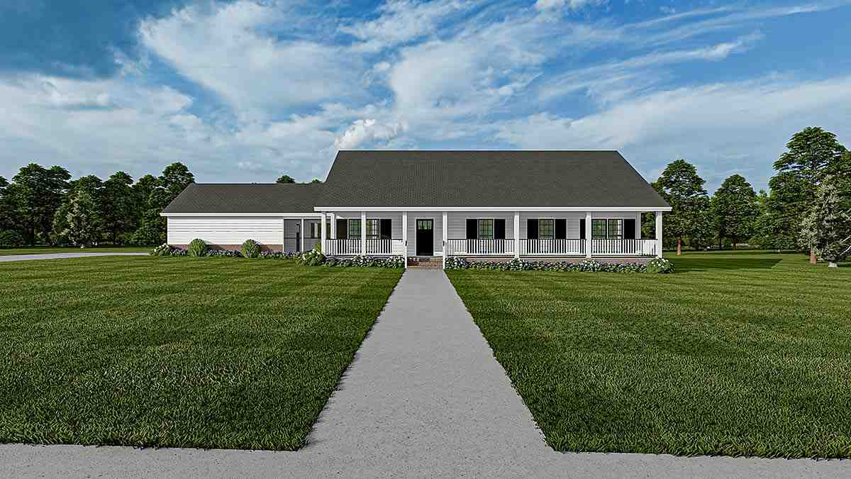 Country, One-Story, Ranch, Southern House Plan 61392 with 3 Beds, 2 Baths, 2 Car Garage Elevation
