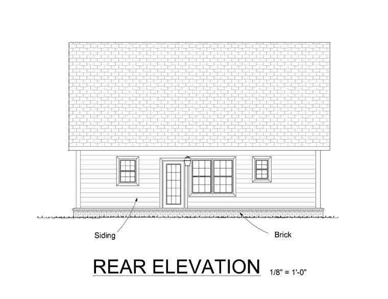 Cabin, Cape Cod, Southern House Plan 61405 with 3 Beds, 3 Baths Rear Elevation