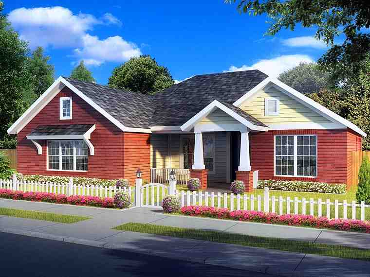 Traditional House Plan 61423 with 4 Beds, 3 Baths, 2 Car Garage Elevation