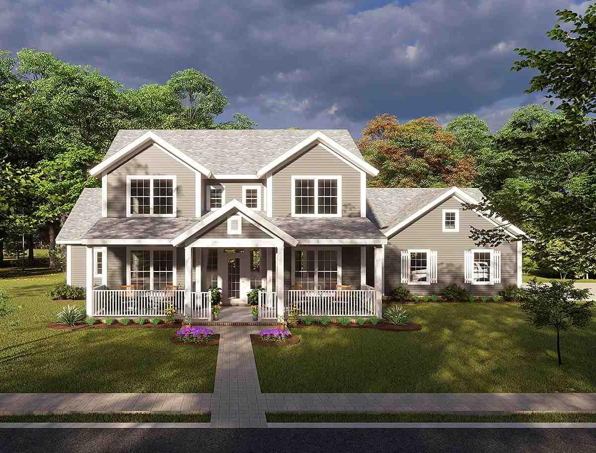 Cottage, Craftsman, Traditional House Plan 61457 with 3 Beds, 3 Baths, 3 Car Garage Elevation