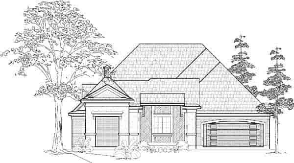 European House Plan 61531 with 3 Beds, 4 Baths, 3 Car Garage Elevation