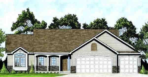 One-Story, Traditional House Plan 62546 with 3 Beds, 2 Baths, 3 Car Garage Elevation