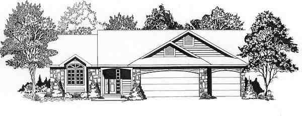 One-Story, Traditional House Plan 62565 with 3 Beds, 2 Baths, 3 Car Garage Elevation
