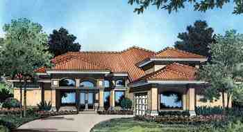 Florida, Mediterranean, One-Story House Plan 63109 with 4 Beds, 3 Baths, 2 Car Garage Elevation