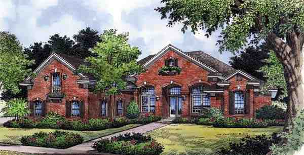 Contemporary, Florida, Mediterranean, One-Story House Plan 63369 with 4 Beds, 4 Baths, 3 Car Garage Elevation