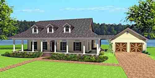 Country, One-Story House Plan 64574 with 4 Beds, 3 Baths, 2 Car Garage Elevation