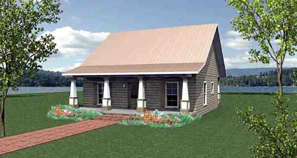 Cottage, Country House Plan 64586 with 2 Beds, 2 Baths Elevation
