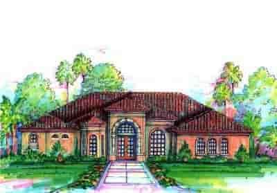 Florida, Mediterranean, One-Story House Plan 64628 with 4 Beds, 3 Baths, 3 Car Garage Elevation