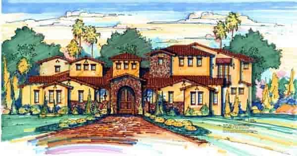 Mediterranean House Plan 64726 with 4 Beds, 5 Baths, 4 Car Garage Elevation