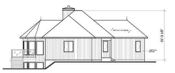 Contemporary, Craftsman House Plan 65283 with 2 Beds, 2 Baths Rear Elevation