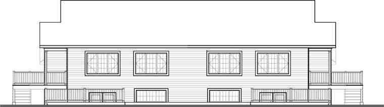 Country Multi-Family Plan 65546 with 8 Beds, 4 Baths Rear Elevation