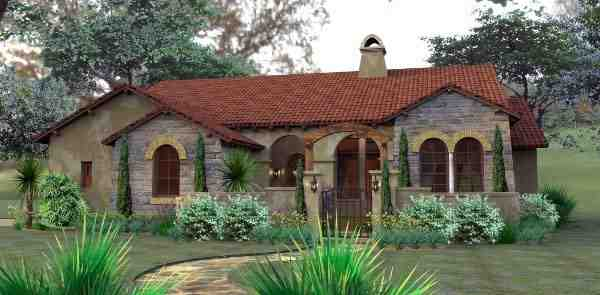 Cottage, European, Mediterranean, Tuscan House Plan 65893 with 3 Beds, 2 Baths, 2 Car Garage Elevation