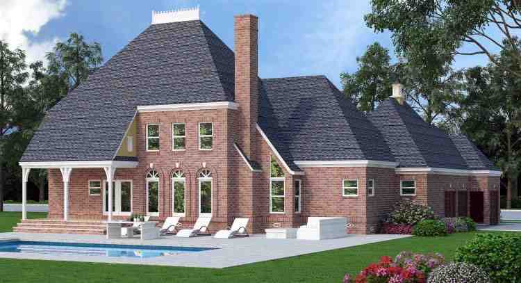 House Plan 65994 with 4 Beds, 5 Baths, 2 Car Garage Rear Elevation