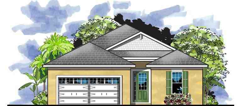 Traditional House Plan 66915 with 3 Beds, 2 Baths, 2 Car Garage Elevation