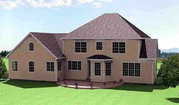 Colonial House Plan 67286 with 5 Beds, 4 Baths, 3 Car Garage Rear Elevation