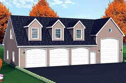 4 Car Garage Plan 67306, RV Storage Elevation