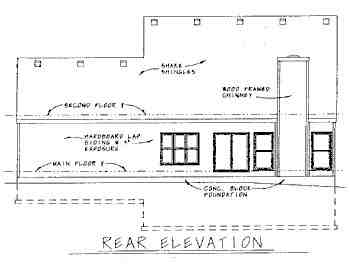 Colonial House Plan 68775 with 3 Beds, 3 Baths, 2 Car Garage Rear Elevation
