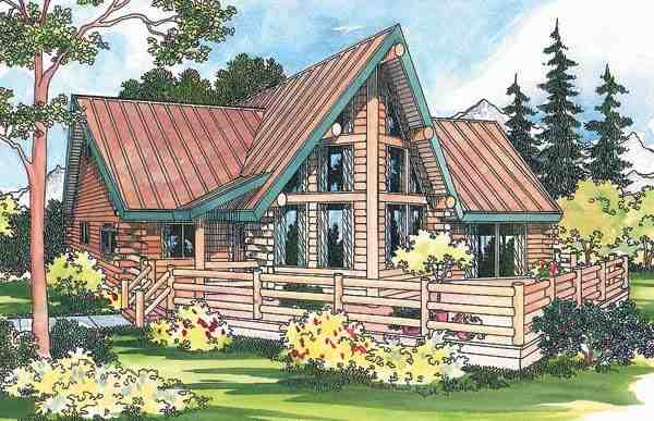 Contemporary, Log House Plan 69357 with 2 Beds, 1.5 Baths Elevation