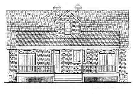 Cape Cod, Country House Plan 69515 with 3 Beds, 3 Baths, 2 Car Garage Rear Elevation