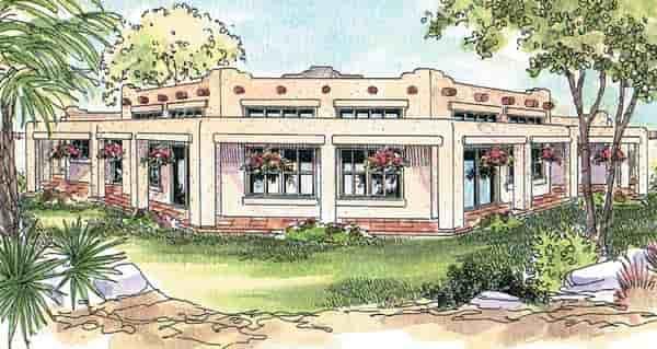 Mediterranean, Santa Fe, Southwest House Plan 69773 with 3 Beds, 3 Baths, 3 Car Garage Elevation