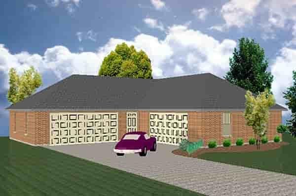 5 Car Garage Plan 69917 Elevation