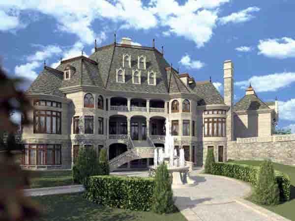 European, Greek Revival House Plan 72130 with 6 Beds, 5 Baths, 4 Car Garage Rear Elevation