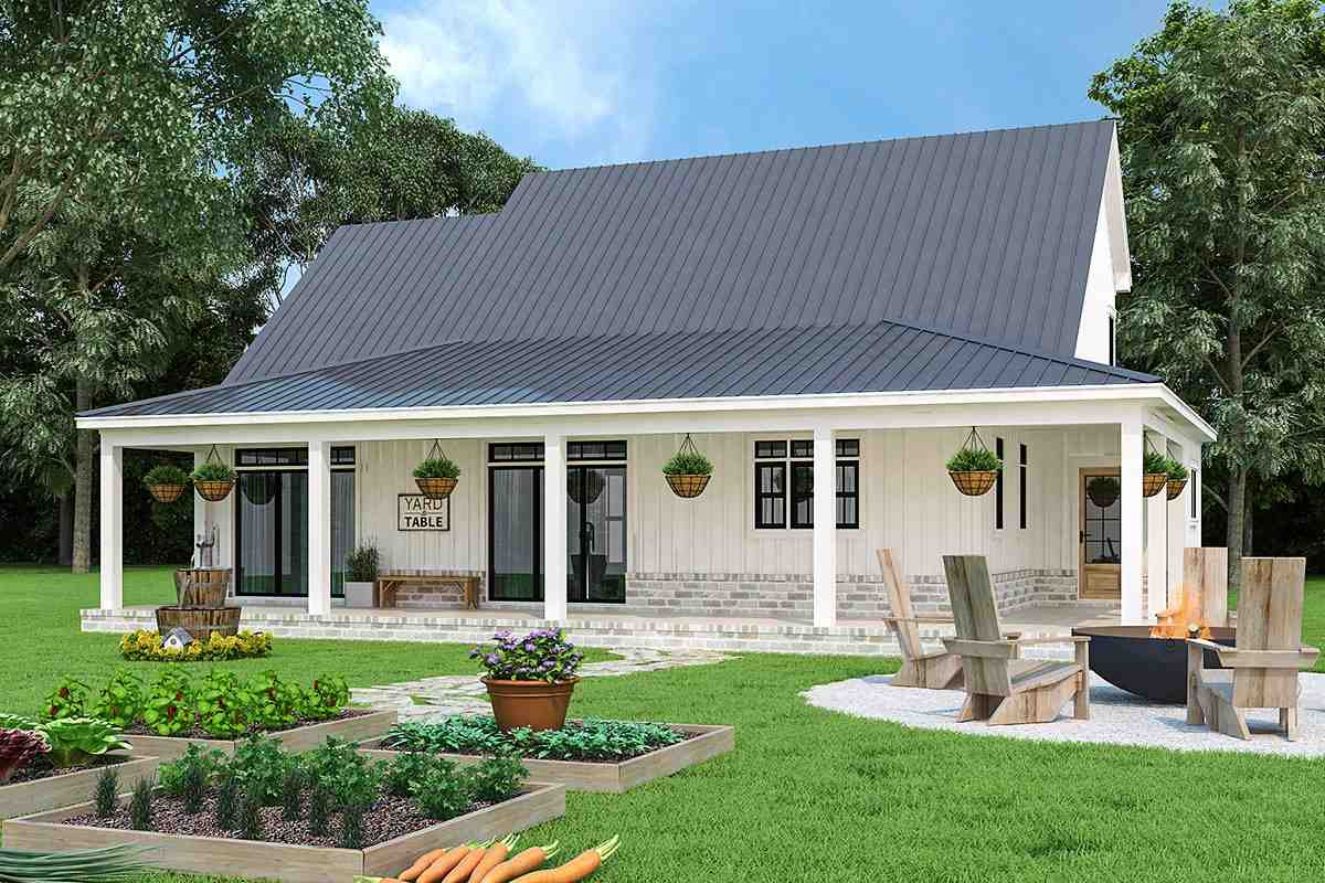 Country, Farmhouse, Southern House Plan 72252 with 3 Beds, 4 Baths, 2 Car Garage Rear Elevation