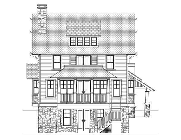 Craftsman, Traditional House Plan 73601 with 4 Beds, 4 Baths Rear Elevation