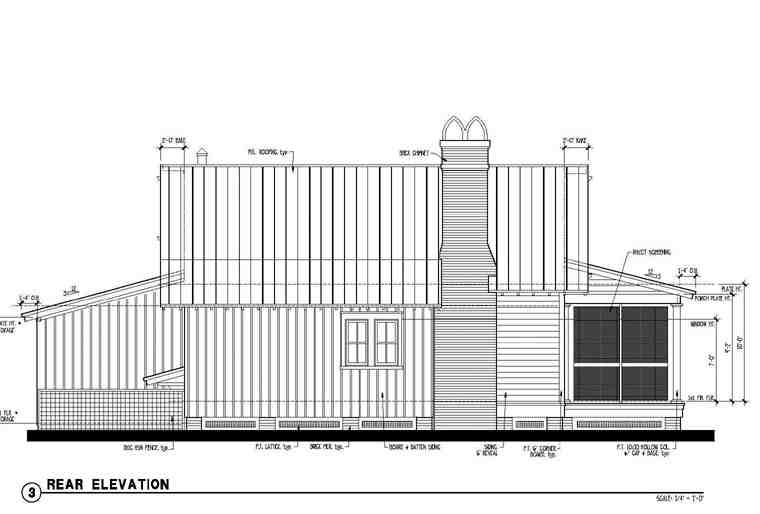 Country, Historic House Plan 73909 with 1 Beds, 1 Baths Rear Elevation
