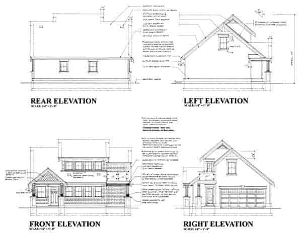 Craftsman 2 Car Garage Plan 74015 Rear Elevation