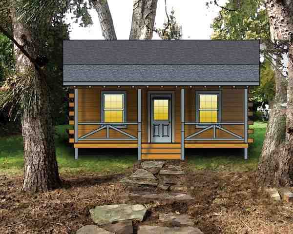 Log, Narrow Lot House Plan 74106 with 2 Beds Elevation