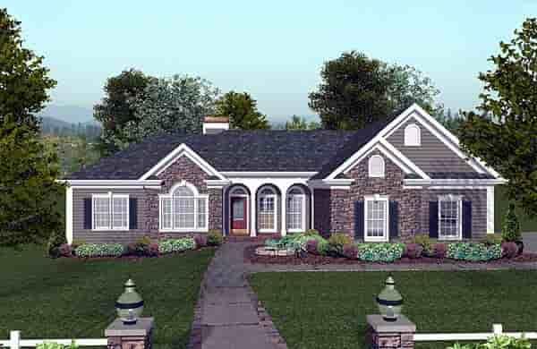 Craftsman, Ranch House Plan 74811 with 3 Beds, 4 Baths, 3 Car Garage Elevation