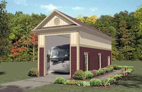 1 Car Garage Plan 74835, RV Storage Elevation