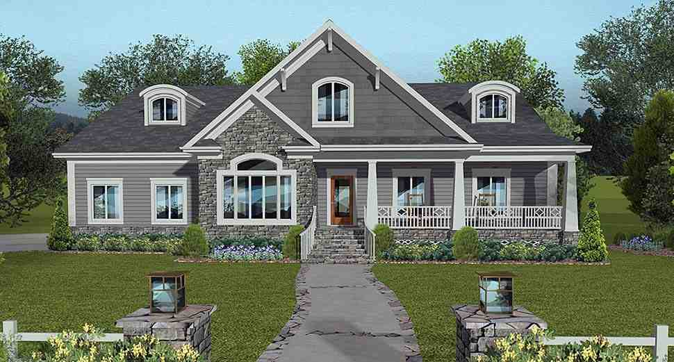 European, Ranch, Traditional House Plan 74860 with 4 Beds, 3 Baths, 3 Car Garage Elevation