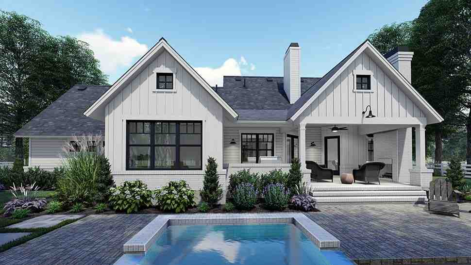 Country, Craftsman, Farmhouse, Southern House Plan 75159 with 3 Beds, 2 Baths, 2 Car Garage Rear Elevation