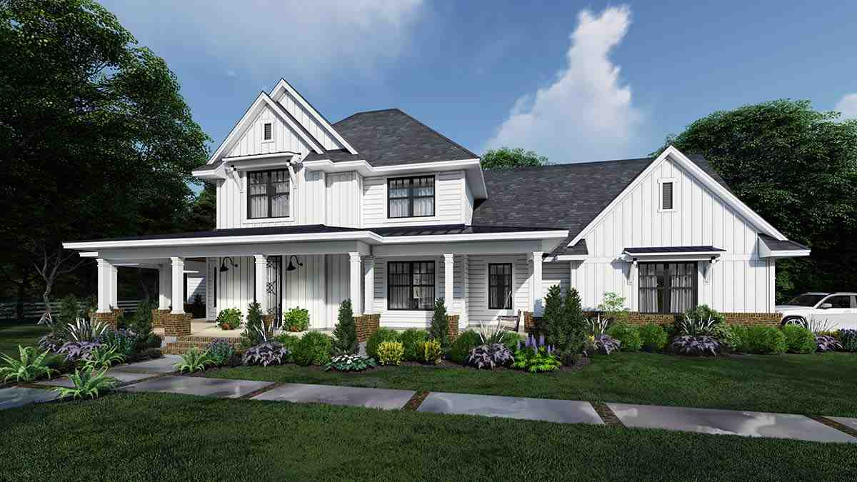 Country, Farmhouse House Plan 75164 with 4 Beds, 4 Baths, 3 Car Garage Elevation