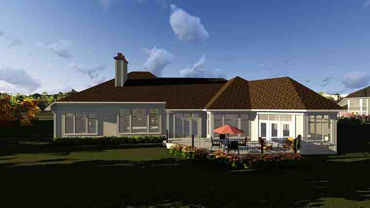 Traditional House Plan 75413 with 2 Beds, 3 Baths, 4 Car Garage Rear Elevation