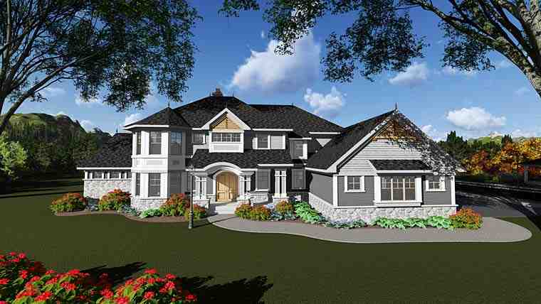 Craftsman, Traditional House Plan 75415 with 5 Beds, 6 Baths, 4 Car Garage Elevation