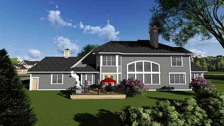 Craftsman, Traditional House Plan 75415 with 5 Beds, 6 Baths, 4 Car Garage Rear Elevation