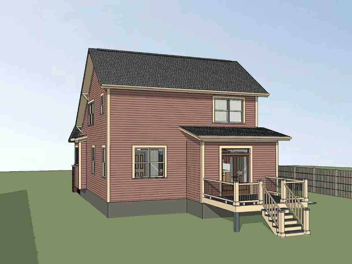 Bungalow, Cottage, Craftsman House Plan 75557 with 4 Beds, 2 Baths Rear Elevation