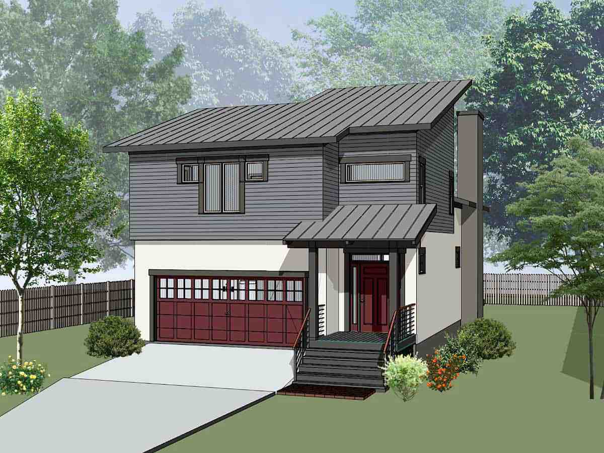 Contemporary, Modern, Narrow Lot House Plan 75594 with 3 Beds, 3 Baths, 2 Car Garage Elevation