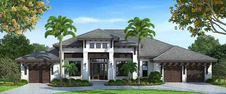 Florida, Mediterranean House Plan 75930 with 4 Beds, 5 Baths, 3 Car Garage Elevation