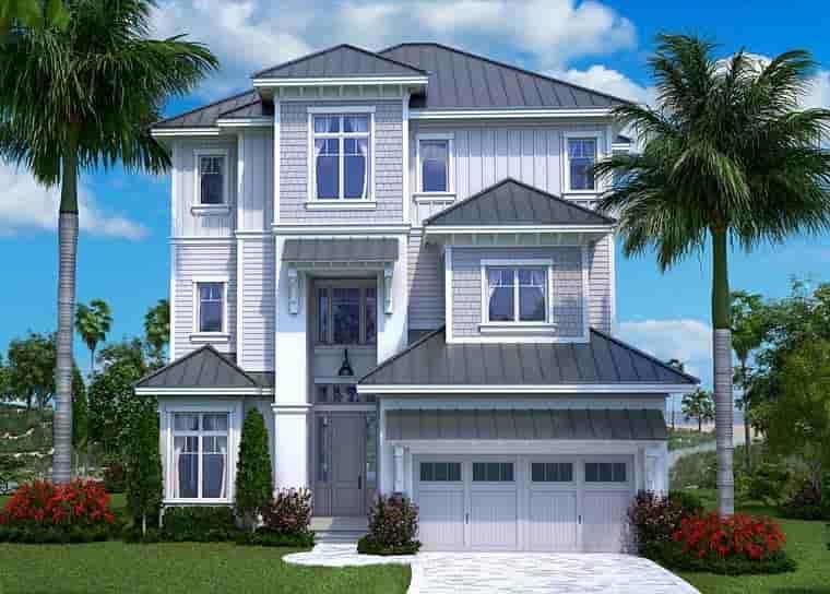 Coastal, Contemporary, Craftsman House Plan 75951 with 5 Beds, 6 Baths, 2 Car Garage Elevation