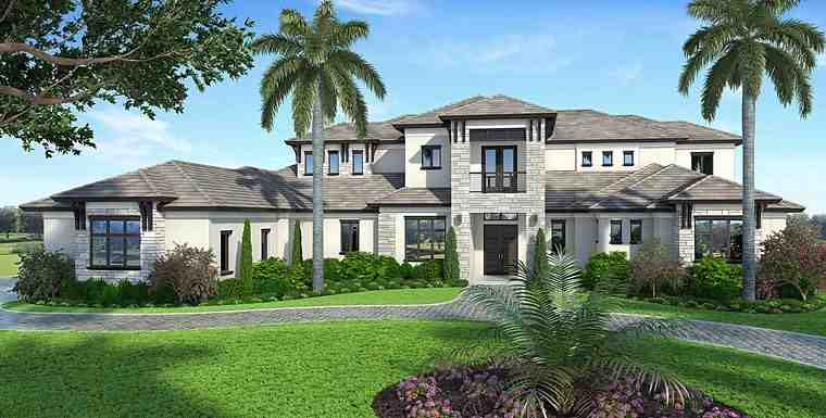 Coastal, Florida, Mediterranean House Plan 75963 with 5 Beds, 7 Baths, 4 Car Garage Elevation