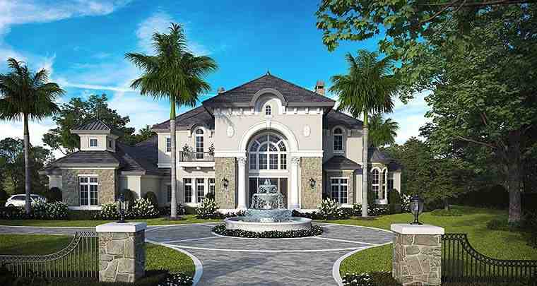 Florida, French Country, Mediterranean House Plan 75993 with 4 Beds, 6 Baths, 4 Car Garage Elevation