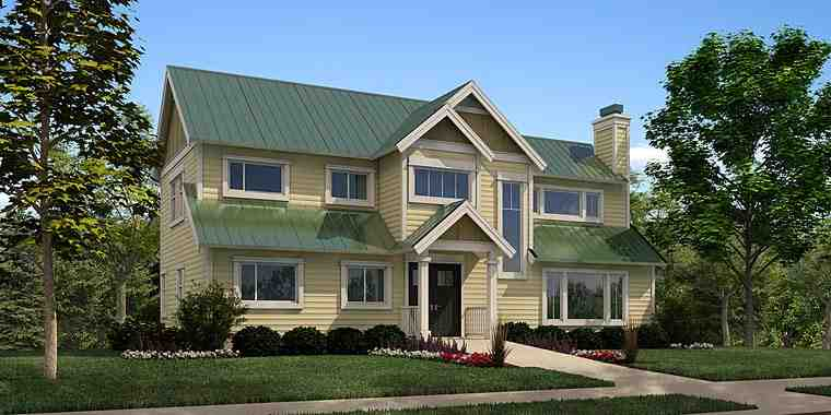 Colonial, Country, Traditional House Plan 76055 with 3 Beds, 3 Baths Elevation