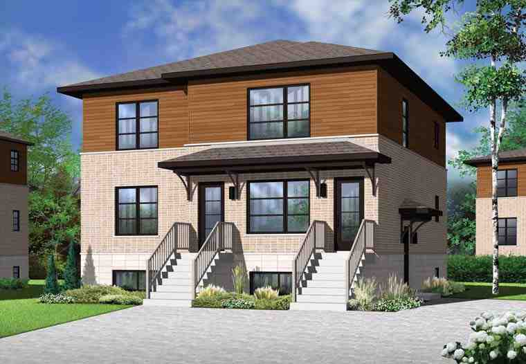 Contemporary Multi-Family Plan 76115 with 6 Beds, 3 Baths Elevation