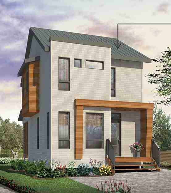 Contemporary House Plan 76398 with 3 Beds, 2 Baths Elevation